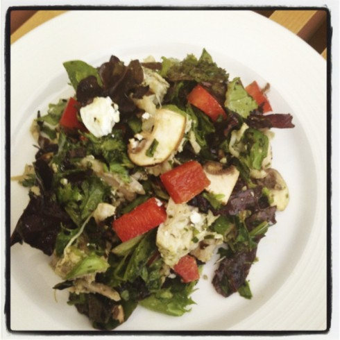 Chopped: mixed greens, mushrooms, red peppers, goat cheese, chicken/pesto salad...with a macadamia oil + pesto dressing. Awesome!