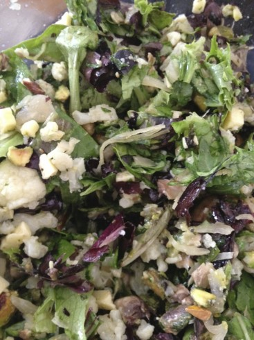 Chopped (the best way to eat salad!): mixed greens, leftover steamed (cold) cauli, cheddar cheese, mushrooms, pistachio nuts, raw sauerkraut, and macadamia/pesto dressing. I was a little worried about this one as I threw things in...but it turned out to be amazing! I love macadamia nut oil, and the pistachios added just a little sweetness (raw, unsalted)
